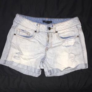 Light blue distressed jean shorts WORN ONCE